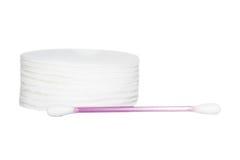 Protection et bâton de coton d'isolement sur le fond blanc Photos stock