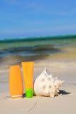Protection et seashell de Sun sur la plage image libre de droits