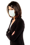 Protection. Executive business woman with protection infection mask isolated on white background Royalty Free Stock Photo