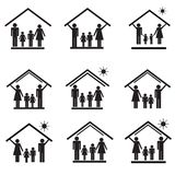 Protection of family in house, set of icons 1 Royalty Free Stock Photography