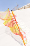 Protection fence. On snow slope Stock Photography
