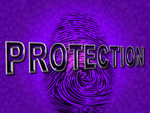 Protection Fingerprint Means Security Encrypt And Secured Stock Image