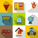 Protection from fire icons set, flat style Royalty Free Stock Images
