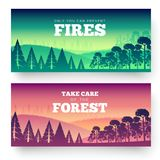 Protection of forests against fire Day. Take care of the forest illustration poster design. Flat  vector banners styl. E Royalty Free Stock Photography