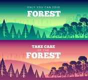 Protection of forests against fire Day. Take care of the forest illustration poster design. Flat vector banners style Stock Image