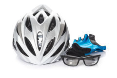 Protection helmet gloves and glasses for cycling Stock Image