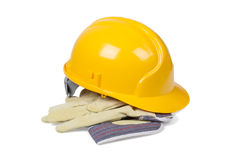 Protection helmet and gloves Stock Image