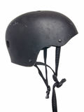 Protection helmet for sports. Black helmet for sports with straps hanging down Royalty Free Stock Photos