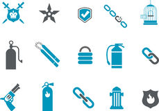 Protection Icon Set. Vector icons pack - Blue Series, protection collection Stock Photos