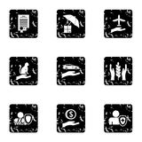 Protection icons set, grunge style Royalty Free Stock Photography