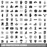 100 protection icons set, simple style Royalty Free Stock Images