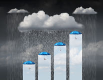Protection Increase. As a business concept and weather infochart or infographic as a cloud with rain falling down and a group of umbrellas providing a rise and Stock Images