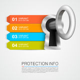 Protection info. Art key banner. Vector illustration Royalty Free Stock Photos