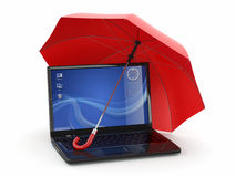 Protection of information. Laptop and umbrella Royalty Free Stock Photos