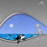 Protection of killer whales and dolphins. Page devoted to the protection of the environment and marine life of killer whales and dolphins. The curious space Royalty Free Stock Image