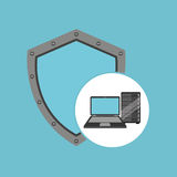 Protection laptop data server. Vector illustration eps 10 Stock Photography