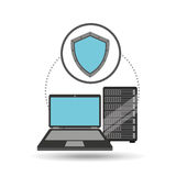 Protection laptop data server. Vector illustration eps 10 Royalty Free Stock Photography