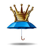 Protection Leadership. Business concept as a blue umbrella with a gold crown as a metaphor for the best financial security and guarding wealth and stability in Royalty Free Stock Image