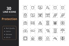 30 Protection Line Icons. High quality protection line icons. Icons for user interfaces and web Royalty Free Stock Photo