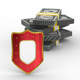 Protection of money. Isolated 3D image on white background Royalty Free Stock Images