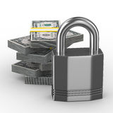 Protection of money. Isolated 3D image on white background Stock Photography