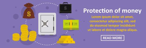 Protection of money banner horizontal concept. Flat illustration of protection of money banner horizontal vector concept for web Stock Image
