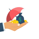 Protection money concept. Bag of coins under an umbrella hold in hand. Secure investment, insurance. Vector illustration flat design style. Shield to protect Royalty Free Stock Photo