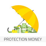 Protection money concept. Money under umbrella vector illustration. Concept of money protection, financial savings insurance. Yellow umbrella, golden coins and Stock Photography