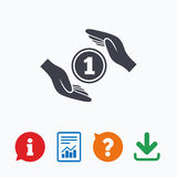 Protection money sign icon. Hands protect cash Royalty Free Stock Photo