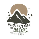 Protection of nature national park design template, hand drawn vector Illustration Stock Images