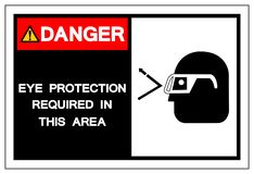 Protection oculaire de danger requise dans ce signe de symbole de secteur, illustration de vecteur, d'isolement sur le label blan illustration libre de droits