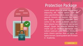 Protection Package Conceptual Banner. Set of great flat design illustration concepts for cargo, delivery, industry, transport and much more Royalty Free Stock Photo