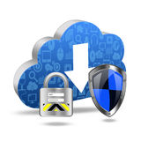 Protection with padlock on cloud computing concept Stock Photography