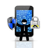 Protection with padlock,social  on smartphone, cell phone illust Stock Image