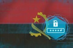 Protection par mot de passe de l'Angola Concept net de sécurité Images libres de droits