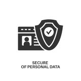 Protection of personal data icon. Protection of personal data. Internet security information protection minimal flat icon Stock Image