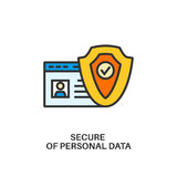 Protection of personal data icon. Protection of personal data. Internet security information protection outline linear icon Royalty Free Stock Photo