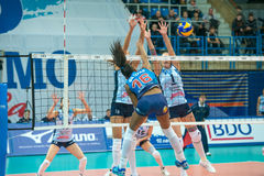 Protection powerless. MOSCOW, RUSSIA - DECEMBER 2: Fernanda Garay Rodriguez (Dynamo (MSC) 16, while playing on women's Rissian volleyball Championship game Royalty Free Stock Images