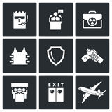 Protection of the president and nuclear suitcase icons. Vector Illustration. Royalty Free Stock Photography
