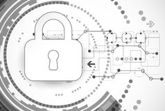 Protection program code. Technology security, encode and decrypt, techno scheme, vector illustration Royalty Free Stock Image