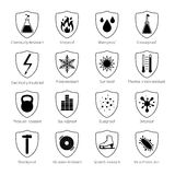 Protection Proof Black Icons. Protection proof black emblems with  scratch resistant soundproof shockproof virus protection signs and commentaries on white Stock Photo