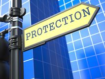 Protection Roadsign. Business Concept. Stock Photography