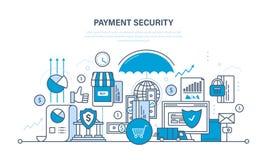 Protection, sécurité de paiement de garantie, finances, paiements en espèces, assurance, transferts d'argent illustration stock