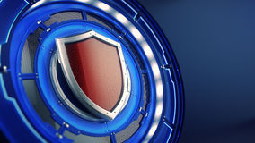 Protection and security concept: shield on futuristic technology background Stock Photo
