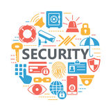 Protection and security silhouette icons. Royalty Free Stock Photos