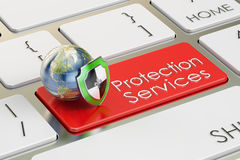 Protection Service concept on keyboard button, 3D rendering. Protection Services concept on keyboard button Stock Images