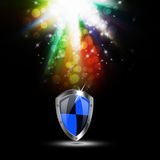 Protection shield on abstract background royalty free illustration