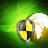 Protection shield  on  abstract  background Stock Photos