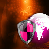 Protection shield  on  abstract  background Royalty Free Stock Photo