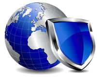 Protection Shield firewall. Shield protecting the world internet from virus's Stock Images